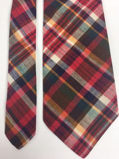 b4739574a94 Vtg Rooster Ruffler Collection Tie Cotton Gimbels Red Plaid Madras  55.5x3.5