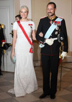 Crown princely couple of Norway in Copenhagen. Mette-Marit in Pucci design gown.