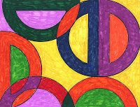 Stella Abstract Drawing -- combines math and art and uses a protractor.