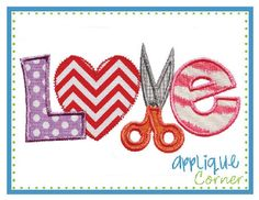 Love Scissors Applique Design