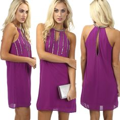 """Sparkle and Shine✨ in the NEW """"keyhole bead dress purple"""" ($45.00) available in store and online at www.sophieandtrey.com! #sophieandtrey #homecoming #freeshipping"""