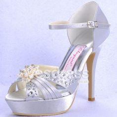 gorgeous stiletto platform wedges | Gorgeous Satin Upper Peep Toe Stiletto Heel Platform With Diamond And ...