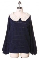 Peter Pan Lace Collar Navy Blue Top - Tops - Retro, Indie and Unique Fashion #Chicwish