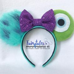 disney crafts Are you a Disney enthusiast like me? Show off your love for Disney by wearing these Monsters, Inc. inspired ears while strolling through the Disney parks and resorts. Mickey Mouse Headband, Disney Ears Headband, Disney Minnie Mouse Ears, Diy Disney Ears, Disney Headbands, Ear Headbands, Disney Diy, Disney Crafts, Disney Stuff
