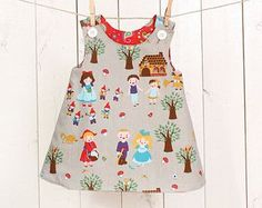 Girls A line dress pattern - easy toddler reversible dress p... Baby Dress