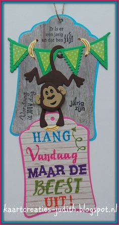 PK9124 Rustic Wood COL1399 Monkey CR1352 Labels LR0329 Vlaggenlijn PL1524 Verjaardags stempels EC0158/EC1059/EC0160 Handlettering Marianne Design, Kids Cards, Gift Tags, Hand Lettering, Monkey, Stampin Up, Birthday Cards, Christmas Ornaments, Holiday Decor