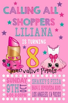 Shopkins Birthday Invitation. Click on the image twice to place orders or follow me on facebook. or email me at the address in BIO.