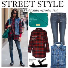 """Street Style-Plaid Shirt +Denim Vest"" by kusja on Polyvore"