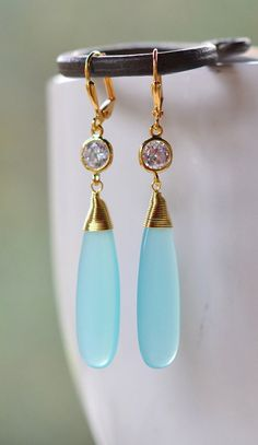 Statement Earrings with Long Aqua Glass Stone