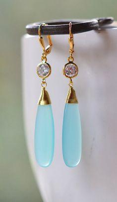 Statement Earrings with Long Aqua Glass Stone
