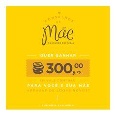 Quer concorrer a um vale compra no valor de R$300,00?? Acesse: http://concurso.forboys.com.br #DiaDAsMães #MaeConselheira
