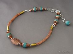 Copper Viking Knit with Green Fire Agate. $95.00, via Etsy.