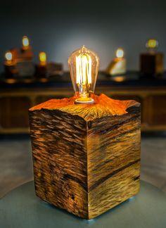 Solid wood block lamp with vintage plug #Vintage #Edison @idlights