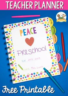 Teacher Planner for Preschool Free Printable - Pre-K Pages - - Free printable rainbow dot teacher planner for early childhood. Preschool, Pre-K, and Kindergarten teachers can stay organized with this freebie! Free Lesson Planner, Preschool Planner, Teacher Planner Free, Teacher Lesson Planner, Free Preschool, Teacher Resources, Teachers Toolbox, Preschool Printables, Preschool Learning