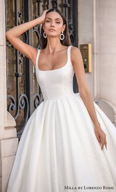 """Milla By Lorenzo Rossi Wedding Dresses for Every Bride — """"Paris"""" Bridal Collection Princess Wedding, Wedding Bride, Wedding Favors, Wedding Ideas, Dream Wedding Dresses, Wedding Gowns, Square Wedding Dress, Simple Bridal Dresses, Ball Dresses"""
