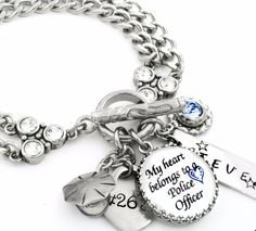Personalized Police Officer Charm Bracelet