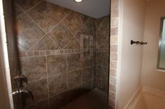 Beautiful open shower with TWO shower heads! Open Showers, Interior Work, Walk In Shower, Shower Heads, Beautiful Homes, Tile Floor, New Homes, Bathtub, Building