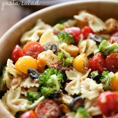 Veggie Bacon Pasta Salad Recipe Salads with pasta, broccoli, colby jack cheese, cherry tomatoes, cherries, sliced olives, bacon, italian salad dressing mix, vegetable oil, water, vinegar
