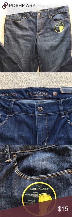 New Faded glory boot cut jeans! New with tags this jeans are really nice. This is a re-posh because they did not fit. Dark denim and just beautiful. Size 18 boot cut with tummy control. Faded Glory Jeans Boot Cut