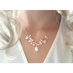 Rose Gold Orchid Necklace, Flower Necklace, Wedding, Bridal,... ($29) ❤ liked on Polyvore featuring necklaces, rose gold jewelry, pink gold necklace, rose gold pendant necklace, pendant necklace and rose gold pendant