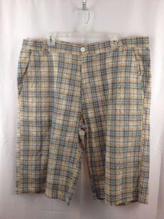 raider jean company multicolor plaid cottonramie shorts size 42 big u0026 tall