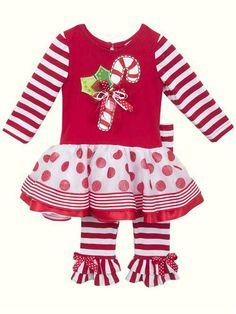d41e0c859f51 Rare Editions Little Girls Candy Cane Dot Stripe Christmas Pant Set Kids Christmas  Outfits, Christmas
