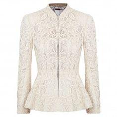 alice and olivia Polly lace peplum jacket White Peplum, Lace Peplum, White Lace, Peplum Jacket, Lace Jacket, Cream Jacket, Model Dress Kebaya, Dress Brukat, Remake Clothes
