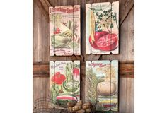 Large Vegetable-Seeds Company Prints, Set of 4 Antique Farmhouse