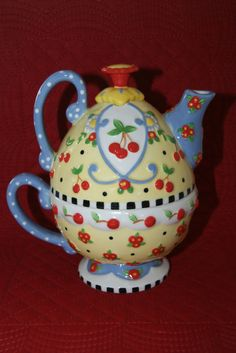 Rare Mary Engelbreit Tea for One Teapot Yellow Blue Cherries Signed 2002   the Teapots Collectionary