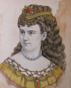 CURRIER & IVES PRINT Antique Original THE MORNING STAR Garnets Victorian Lady