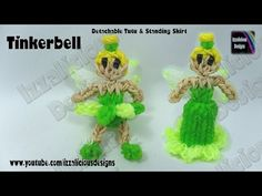 Rainbow Loom TINKERBELL FAIRY with detachable Wings & Detachable/Standing Skirt. Designed and loomed by Kate Schultz of Izzalicious Designs. Click photo for YouTube tutorial. 08/28/14.