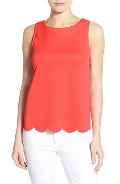 Free shipping and returns on Bobeau Scalloped Hem Sleeveless Top at Nordstrom.com. A scalloped hemline and V-neckline in back bring feminine charm to a staple tank in a polished fine-gauge knit.