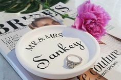 "CreationsbyHan on Instagram: ""Our personalised wedding dishes have been restocked! Beautiful photo by @_ashleigh_ann . . . . #wedding #ringdish #personalised #lovers #engaged #fiance #engagementring #shesaidyes #weddingplanning #eventplanning #diamond #flowers #bridetobe #shopsmall #supporthandmade #centralcoast #nswcentralcoast #jewellery #homedecor #roomdecor #bathroom #bouquets #weddingdress #bridesmaid #bridalparty"""