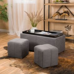 Contemporary Grey 3-piece Fabric Tray Top Nested Storage Ottoman Bench #GDFStudio #Contemporary