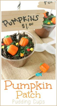 The Original DIY Pumpkin Patch Pudding Cups for Fall and Halloween is part of Autumn crafts Pumpkin Patches - Fall is one of my favorite times of year; we love to go pumpkin picking so I've created these adorable pudding cups to celebrate Fall Snacks, Fall Treats, Holiday Treats, Kid Snacks, Halloween Desserts, Halloween Treats, Halloween Party, Fall Halloween, Halloween Activities