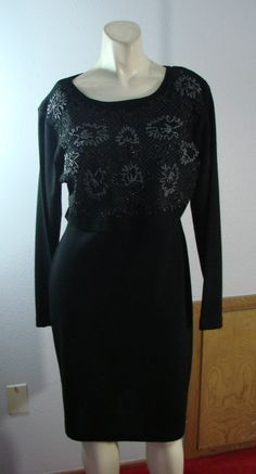 Carole Little Wool Blend Vintage dress Body Conscious Beaded bodice M by TheScarletMonkey on Etsy