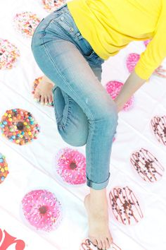 In need of a sweet weekend project? This DIY donut Twister game mat is sure to inspire hours of family-friendly fun! Donut Birthday Parties, Donut Party, Birthday Ideas, Donut Games, Twister Game, Diy Donuts, Doughnuts, Sleepover Games, Sleepover Party