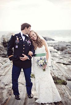 Brides: A Rustic Military Wedding in New Harbor, Maine | Rustic Weddings | Real Weddings | Brides.com