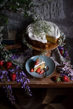 Lime Olive Oil Cake with Cream and Strawberries