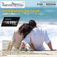 Romantic #Goa Tour Package 3 Nights / 4 Days #Tour_Package With Flight + Hotel + Sightseeing + Transfers + etc etc.. In Just Rs. 18,999/- Only Inquire Online http://www.marveltrip.com/india-holidays/goa-tour-packages OR Call Us on 0124 - 4223344