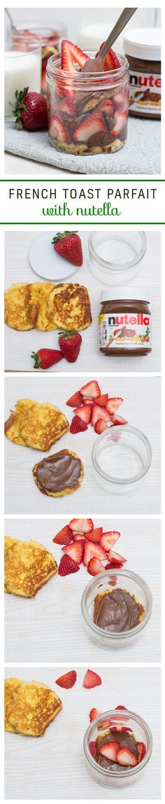 Layer on the love by trying these French Toast parfaits with Nutella®. Start by whipping up your favorite French toast recipe. Now the fun begins. Use a wide-mouth jar or glass to cut your French toast into circles, then spread with Nutella on the French toast circles. Fill an empty jar or glass by alternating between the French toast and strawberries. Grab a fork and dig in!