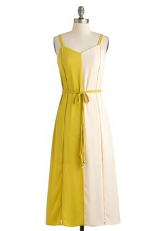 Chartreuse for Real? Dress - Long, Green, Tan / Cream, Belted, Casual, Maxi, Spaghetti Straps, Sweetheart, Solid, Daytime Party, Vintage Inspired, 70s, Colorblocking, Summer