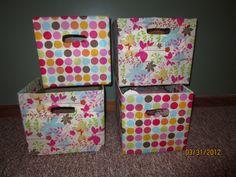 Fabric covered diaper boxes, waiting to be filled and used in the craft room