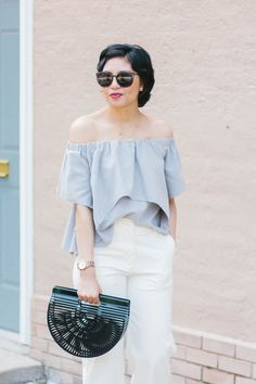 e3ac039ff34476 Affordable White Wide-Leg Pants for under $200, off the shoulder top, cult