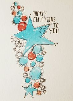 Christmas card, watercolor, do it yourself, painting - Merry Chistmas, Merry Christmas To You, Diy Christmas Cards, Christmas Signs, Xmas Cards, Christmas Art, Diy Cards, Holiday Crafts, Watercolor Christmas Cards