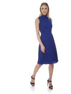 Yumi by Lilah Pleated High Neck Midi Dress Blue | Yumi