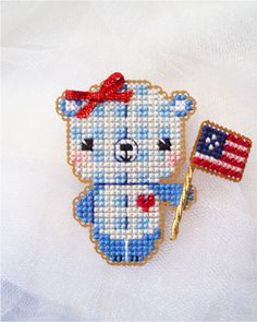 Brooke's Books Yummy Stitches - Patriotic Picnic - Cross Stitch Kawaii Ornament Designs by Brooke Nolan - Instant Downloads & Chart Packs available at the Brooke's Books Store on Etsy: https://www.etsy.com/shop/BrookesBooksStore?ref=l2-shopheader-name