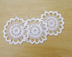 Crochet White Snowflake Ornaments Wall Crochet by evefashion