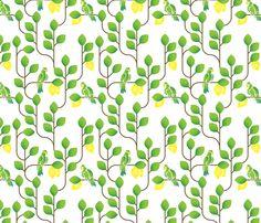 A parakeet in the lemon tree fabric by ebygomm on Spoonflower - custom fabric