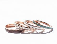 10K ROSE GOLD STACKING WEDDING BANDS (available w/ diamond, wood, antler, turquoise and other inlay options)